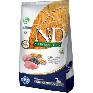Ração N&D Ancestral Adulto Medium Breeds Cordeiro E Blueberry 10,1kg