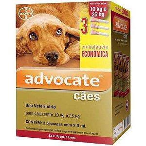 Antipulga Advocate Cao 10 A 25kg 2,5ml Caixa Com 3 Bisnagas