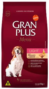 RAÇÃO GRAN PLUS MENU CÃO ADULTO LIGHT 15KG