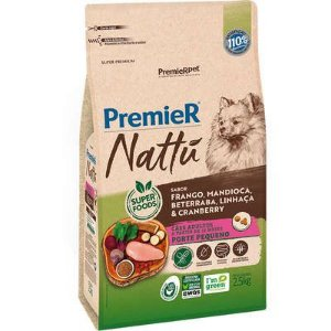 Ração Premier Nattú Cão Adulto Raça Pequena Frango E Mandioca 2,5kg