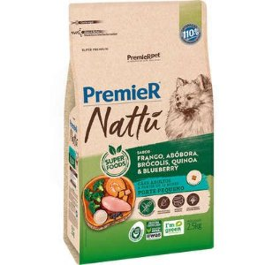 Ração Premier Nattú Cão Adulto Raça Pequena Frango E Abóbora 2,5kg