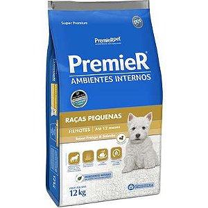 Ração Premier Ambientes Internos Cão Filhote Raça Pequena Frango E Salmão 12kg