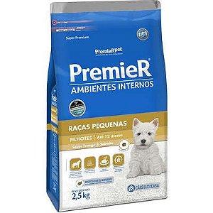 Ração Premier Ambientes Internos Cão Filhote Raça Pequena Frango E Salmão 2,5kg