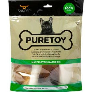 Kit Pure Toy Raças Pequenas e Médias - 2 ossos + 2 cascos + 1 chifre