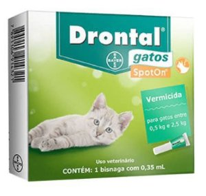 Vermifugo Drontal Gatos Spot On 0,5 A 2,5kg 0,35ml