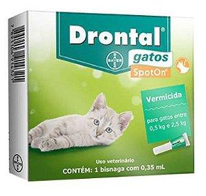 Vermifugo Drontal Gatos Spot On 0,5 A 2,5kg 0,35ml