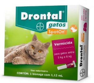 Vermifugo Drontal Gatos Spot On 5 A 8kg 1,12ml