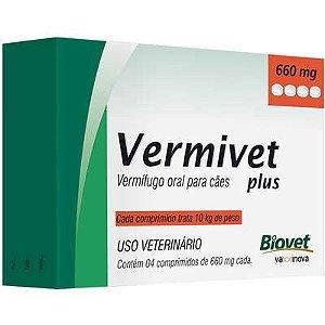 Vermífugo Vermivet Plus Cão 10Kg 660G Caixa Com 4 Comprimidos