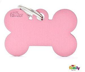 Placa de Identificação My Family Basic Osso Grande Alumínio Rosa