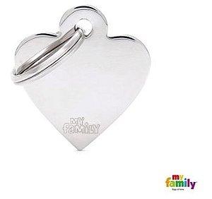 Placa de Identificação My Family Basic Coração Pequeno Cromado Prata Brass