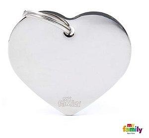 Placa de Identificação My Family Basic Coração Grande Cromado Prata Brass