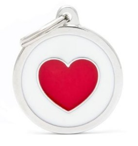 Placa de Identificação My Family Charms Redondo Grande Branco Com Coração Vermelho