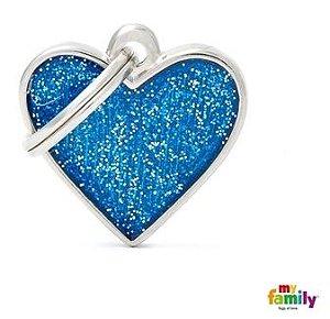Placa My Family Shine Coração Glitter Azul
