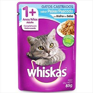 Sachê Whiskas Gato Adulto Castrado 1+ Peixe Ao Molho 85g