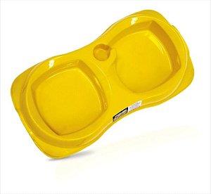 Comedouro Duplo Zooplast Amarelo G 1300ml