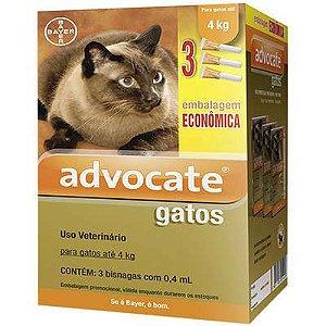 Antipulga Advocate Gato Ate 4kg 0,4ml Caixa Com 3 Bisnagas