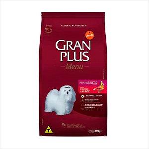 Ração Gran Plus Menu Cao Adulto Raças Pequenas e Mini Carne e Arroz 10,1Kg