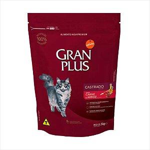 Ração Gran Plus Gato Castrado Carne E Arroz 3kg