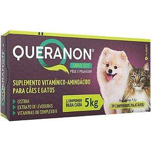Suplemento Queranon Cão/Gato 5kg - 30 Comprimidos Palátaveis