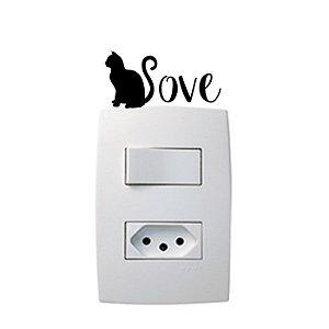 Adesivo Interruptor Gato Love