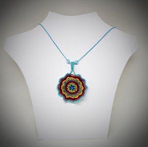 Colar Mandala Miyuki azul turquesa
