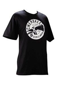 Camiseta Cherokee Baby Look preta com estampa branca