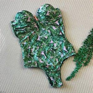 Maiô/Body Detalhe Metal Meio Rosê Folhas Verde 4018