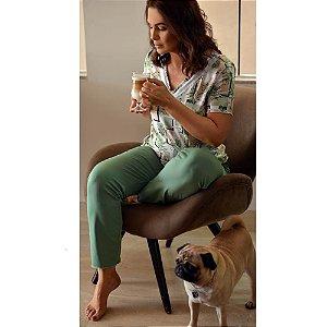 Pijama Longo Vanessa Folhagem Verde Mint H08