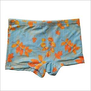 Sunga Boxer Infantil Azul Folhas Laranja 3007I