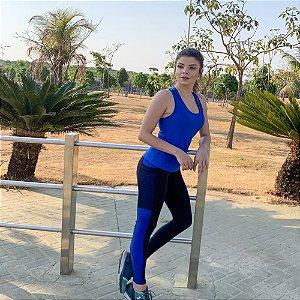 Calça 3D Preto Recortes Azul Royal 10054
