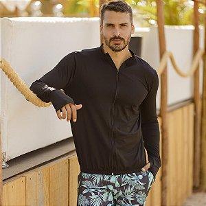 Camisa Com Proteção Solar Com Zíper Masculino Preto 6014