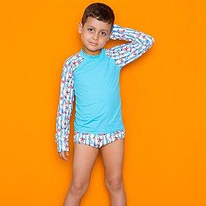 Kit Blusa Com Proteção Solar + Sunga Infantil Azul