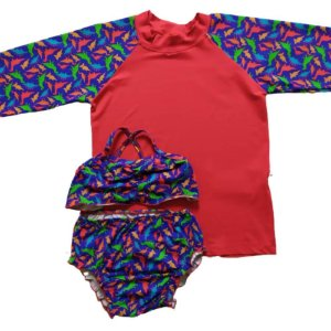Kit Blusa Com Proteção Solar + Biquini Infantil Vermelho