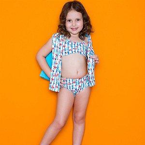 Kit Blusa Com Proteção Solar + Biquini Infantil Azul