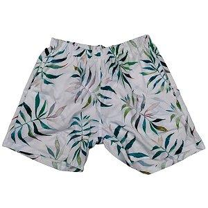 Short Masculino Tactel Branco Folhagem Verde 3013