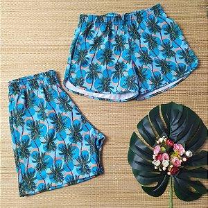 Kit short casal tactel azul coqueirinhos