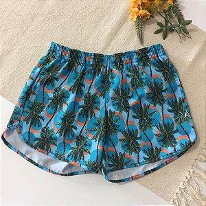 Short Feminino Tactel Azul Coqueirinhos 5071
