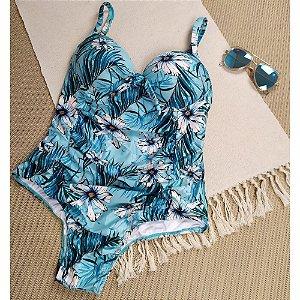 Maiô Plus Nozinho Azul Flor Branca 4064