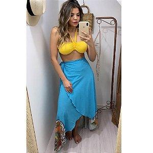 Pareô/Canga Azul Desenhos Indianos 5069A