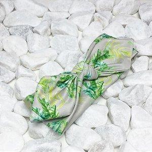 Turbante Cinza com Verde