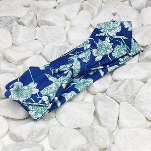 Turbante Azul Flor Branca