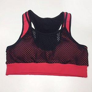Top Fitness Vermelho com Preto 11022