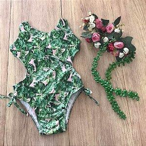 Maiô Infantil Rosê Folhas Verdes 7023