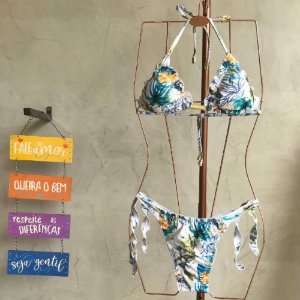 Conjunto Biquíni Curtininha Ripple Pássaro Azul 2076 e 1071