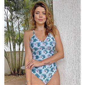 Maiô/Body Cruzado Costas Flor Cinza 4066