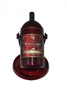 Cervegela porta garrafa vinho Elite cor vinho com dourado Ref 029