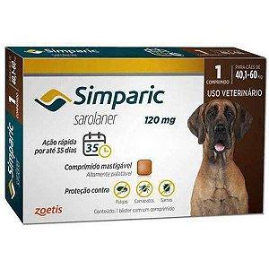 Zoetis Antipulgas Simparic 120 mg para Cães 40,1 á 60 Kg / 1 COMPRIMIDO