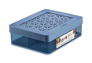 Ordene caixa com divisórias para jóia Azul