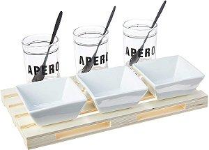 Lyor Conjunto Bandeja De Plástico C/3 Molheiras De Vidro 3 Molheiras De Cerâmica 3 Colheres De Aço