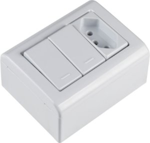 Tramontina LizFlex Caixa de Sobrepor 2 Interruptores Simples C/ 1 Tomada 2P